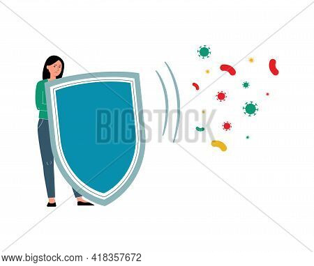 Woman Holding Health Protection Shield To Defend From Disease