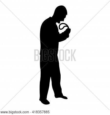 Silhouette Angry Man With Belt In Hand For Punishment Warns Violence In Family Concept Abuse Idea Do