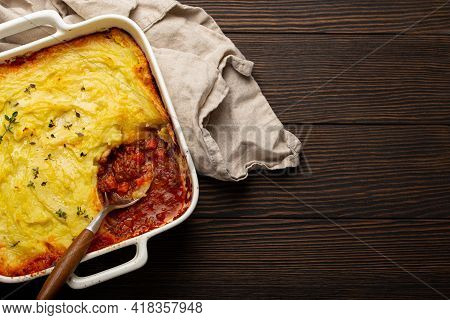 Traditional Dish Of British Cuisine Shepherds Pie Casserole With Minced Meat And Mashed Potatoes In