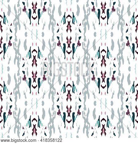 Spots, Ikat. Tie Dye, Batik. Seamless Pattern. Geometric Surface. Hand Drawn Painted. Rose Gray Mode