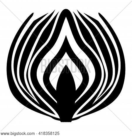 Silhouette Onion Cut In Half Part Bulbs Chopped Sliced Vegetable Black Color Vector Illustration Fla