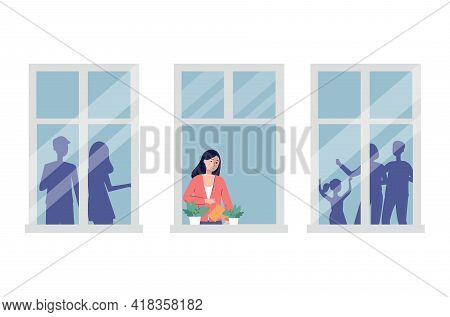 Woman Alone In Apartment Feeling Upset And Lonely, Flat Vector Illustration.