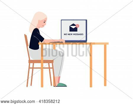 Upset Lonely Woman Getting No Messages, Flat Vector Illustration Isolated.