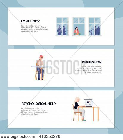Psychological Problems Of Loneliness And Depression, Flat Vector Illustration.