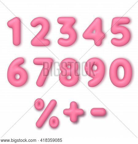 Realistic 3d Font Color Pink Numbers. Number In The Form Of Balloons. Template For Products, Adverti