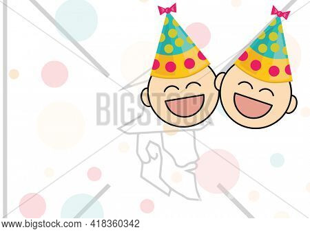 Digital generated image of baby wearing party hats icons against santa claus on white background. birthday template background design concept