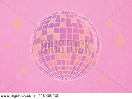 Digital generated image of shining disco ball against pink background. birthday party template background design concept