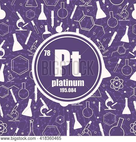 Platinum Chemical Element. Concept Of Periodic Table.
