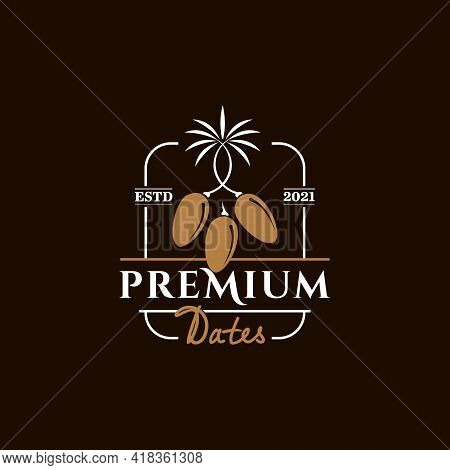 Appealing Food Logo For An Organic Premium Dates Industry Graphic Design Badge And Label Template In