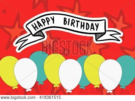 Happy birthday text over ribbon banner against colorful balloons and stars on red background. birthday template background design concept