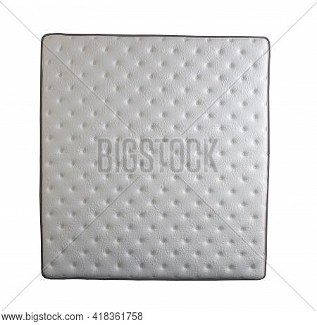 Top View Of Brand New Mattress, Soft And Luxury Mattress Isolated On White Background