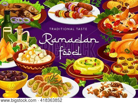 Ramadan Food Of Iftar, Eid Mubarak Biryani And Islam Cuisine Meals. Ramadan Or Ramazan Kareem Iftar
