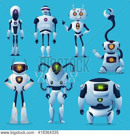 Cute Robots And Bots, Vector Artificial Intelligence And Ai Cartoon Characters. White Modern Robot H