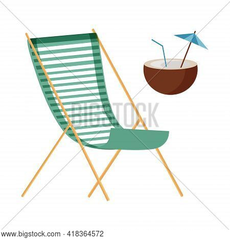 Chaise Longue And Coconut Cocktail For A Summer Holiday On The Beach On A White Background