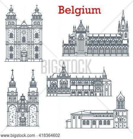 Belgium Landmarks, Cathedral Churches Architecture Of Liege And Eupen, Vector Buildings. St Nicholas