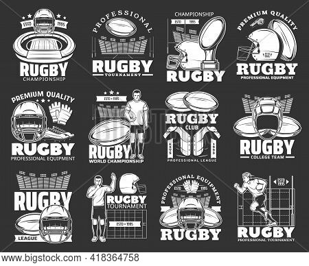Rugby Sport Tournament Retro Icons. Rugby Player Running With Ball, Sport Arena Or Stadium, Helmet,