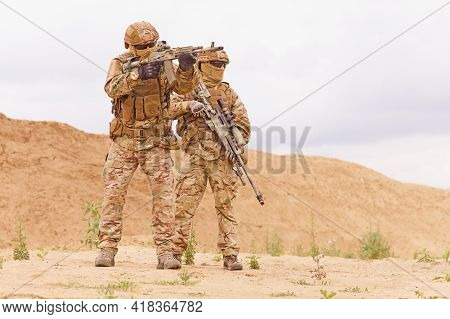 Two Special Forces Snipers In The Desert. Concept Of Military Anti-terrorism Operations, Special Ope