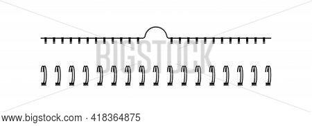 Bind Spring Of Spiral. Ring Of Spiral For Notebook Or Calendar. Metal Wire Of Binder Clip. Mockup Fo