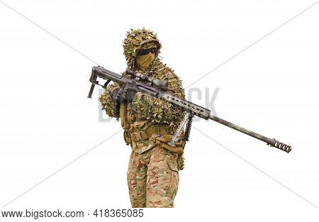 Sniper With Sniper Rifle Isolated On White Background