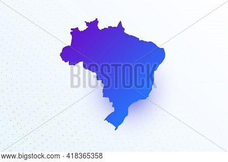 Map Icon Of Brazil. Colorful Gradient Map On Light Background. Modern Digital Graphic Design. Light
