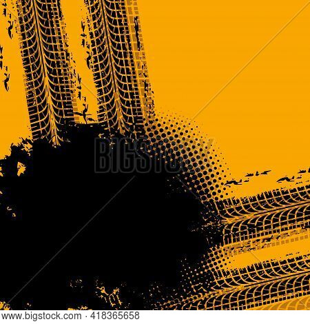 Car Tire Rubber Marks Vector Background. Motorsport Or Transport Industry, Rally Off-road Race Grung