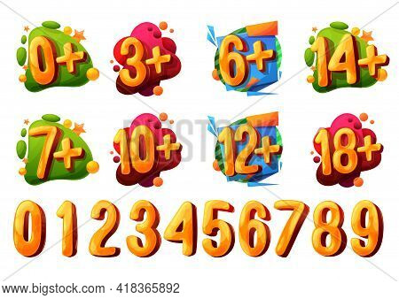 Age Limit Or Restriction Vector Icons And Signs. Cartoon Bubbles, Kids Age Year Numbers, Colorful Pa