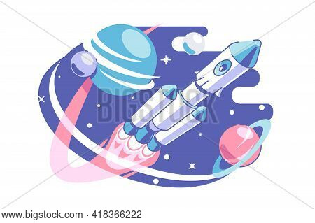 Space And Galaxy Exploring Vector Illustration. Astronaut