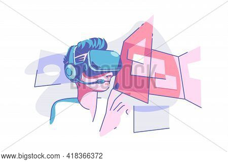 Virtual Reality Glasses Vector Illustration. Person Wearing