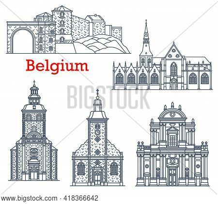 Belgium Travel Landmarks Of Namur And Stavelot, Vector Cathedrals And Churches Architecture Line Ico