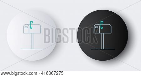 Line Open Mail Box Icon Isolated On Grey Background. Mailbox Icon. Mail Postbox On Pole With Flag. C