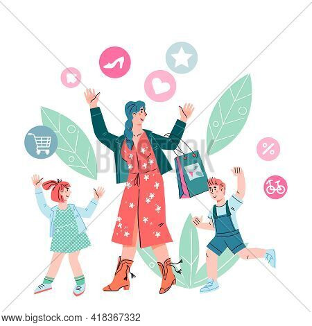 Cheerful Family Of Mother With Children Going Shopping, Cartoon Vector Illustration Isolated On Whit