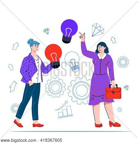 Concept Of Business Idea, Cooperation And Joint Teamwork. Business Women Hold A Light Bulb. Creative