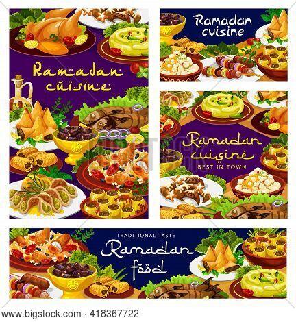 Ramadan Food, Iftar Cuisine Dishes, Islam Biryani And Eid Mubarak Meals Menu, Vector. Ramadan Kareem
