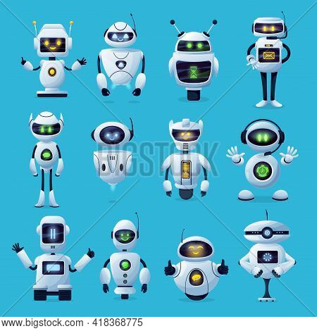 Robot Cartoon Characters With Vector Ai Or Artificial Intelligence Robotic Machines. Modern White Ro