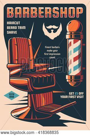Barbershop Service Retro Poster, Men Hairdresser Or Haircut Stylist Saloon Vintage Vector Banner. Ha