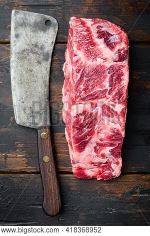 Scotch Fillet Whole Cut, Marbled Beef Rib Eye Top Choice Meat Set, With Old Butcher Cleaver Knife, O