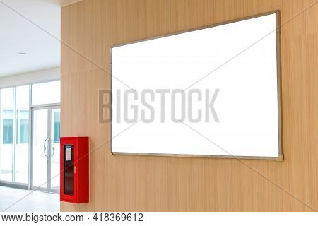 Billboard Blank For Advertising Poster Or Blank Billboard On Wall For Advertisement In Building