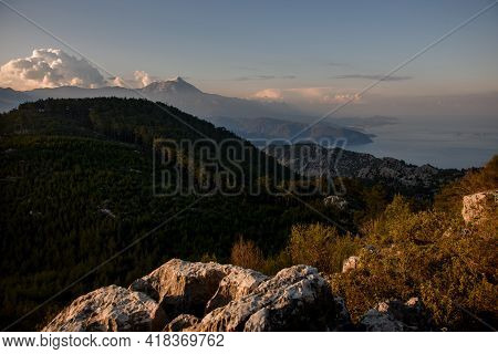 Magnificent View Of The Mountain Landscape, Hills, Sea Coast And Blue Sky