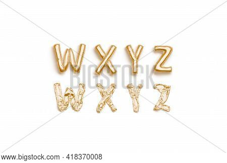 Inflated, Deflated Gold W X Y Z Letters, Balloon Font, 3d Rendering. Uppercase Helium Symbol For Sur