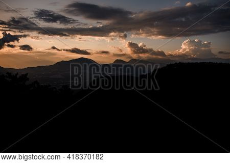 Majestic Mountain Landscape With Colorful Vivid Sunset On The Cloudy Sky, Nature Outdoor Travel Back