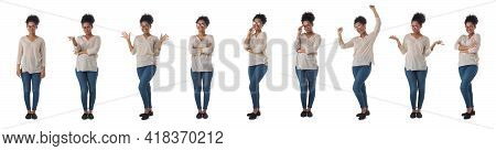 Set Of Full Length Portraits Of Smiling African Student Girl Business Woman In Glasses Isolated On W