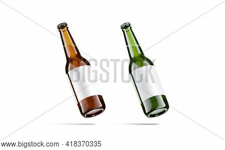 Blank Brown And Green Glass Beer Bottle White Label Mockup, 3d Rendering. Empty Unopened Container F