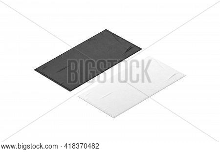 Blaank Black And White Unfolded Bit Towel Mockup, Isolated, 3d Rendering. Empty Softness Wiper For B