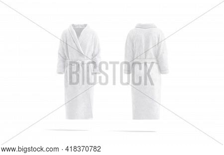 Blank White Hotel Bathrobe Mockup, Front And Back View, 3d Rendering. Empty Plush Dressing Gown With