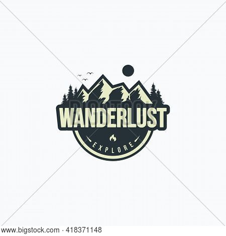 Vector Illustration Of Vintage Mountain, Sun, Birds, And Pine Forest Fit For Adventure And Outdoor A