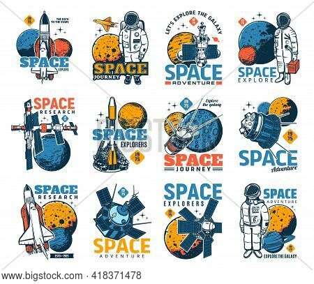 Space And Galaxy Discovery Icons With Isolated Vector Astronauts, Spaceships, Universe Planets And S