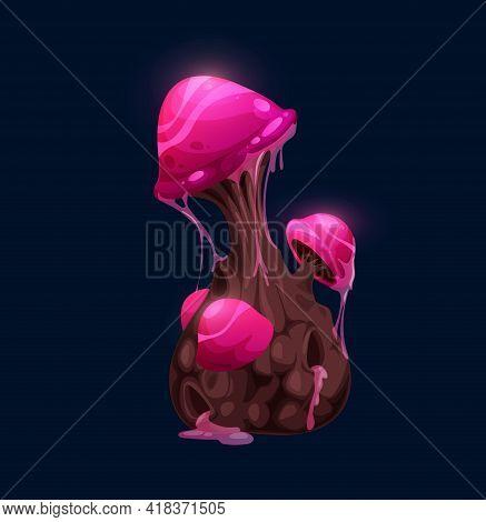 Fantasy Magic Twinkling Pink Mushroom. Cartoon Vector Fairytale Fungus Or Alien Planet Live Form, Lu
