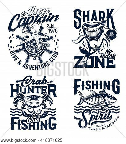 Tshirt Prints With Underwater Animals, Vector Mascots For Apparel Design. Octopus, Shark, Crab And T