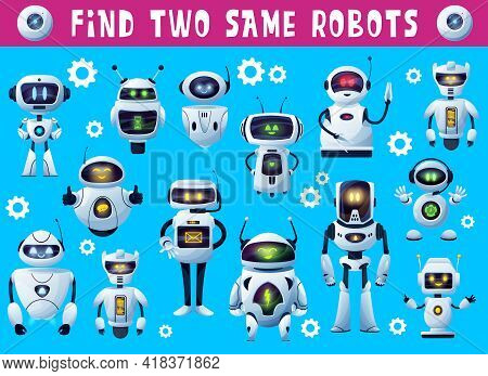Kids Game Find Two Same Robots, Tabletop Or Board Game Puzzle, Vector. Find Two Same Robot Droids Or