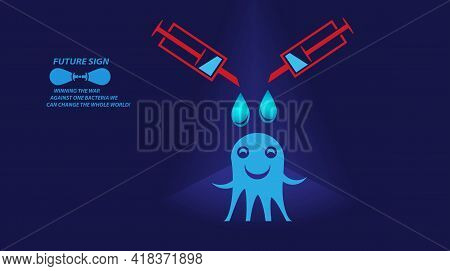 3D Microbe Isolated On Blue Background. Allergy Bacteria, Medical Healthcare, Microbiology Concept.